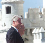 The President smiles at the crowd during the arrival ceremony at Torre de Belem.