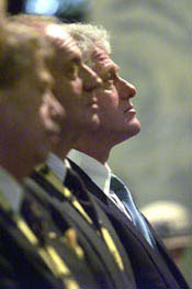President Vaclav Havel, King Juan Carlos I, and President Clinton attend the prayer service in the Aachen Cathedral.