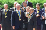 The Charlemagne Prize is presented to President Clinton for his contributions to peace and integration in Europe.
