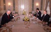 After his evening arrival in Moscow, President Clinton has dinner with Russian President Vladimir Putin at the Kremlin.