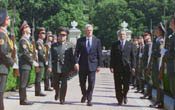 The President reviews the Guard of Honor at the Presidential Palace in Kiev.