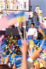 The President greets a roaring, flag-waving crowd at St. Michael's Square, in Kiev.