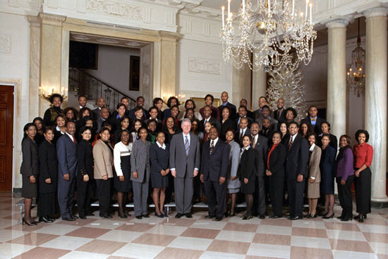 President Clinton and African American appointees at the White House.