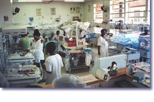 Pediatric AIDS ward in African hospital