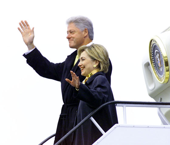 The President and the First Lady wave to the crowd upon arrival in Slovenia.