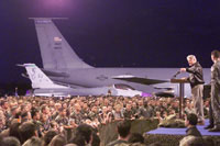 The President expresses his gratitude to members of Operation Allied Force at Aviano Air Base in Italy.
