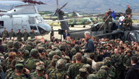 President Clinton commends NATO peacekeeping troops in Macedonia.