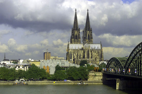 Overlooking the Rhine river, the Cathedral of Cologne -- one of the tallest gothic structures in Northern Europe -- towers above the city.