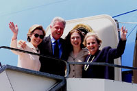 The First Family and Secretary Albright depart Geneva en route to Paris for the next leg of the trip.