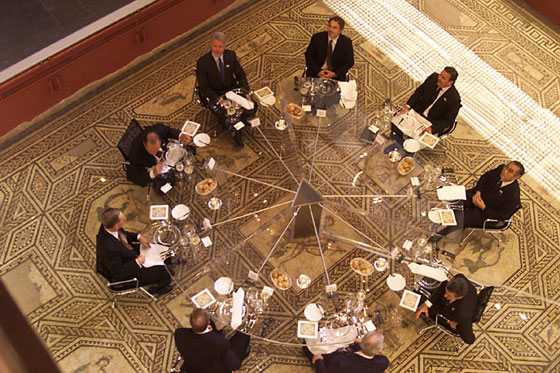 The G-8 Heads of State and Government and the President of the European Union attend a working dinner in the Mosaic Room of the Römisch-Germanisches Museum in Cologne.