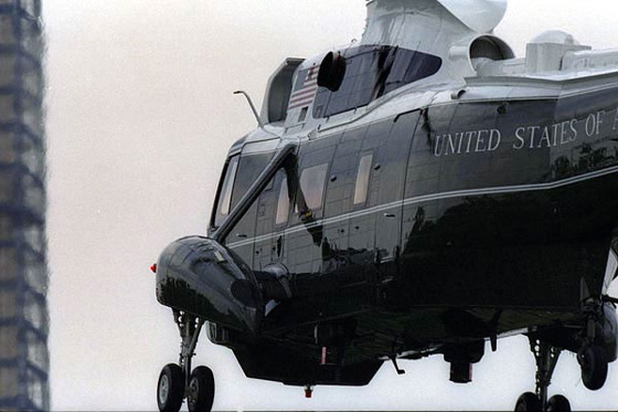 Marine One transporting the First Family to Andrews Air Force Base.