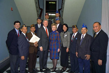 The President and First Lady with Filipino veterans.