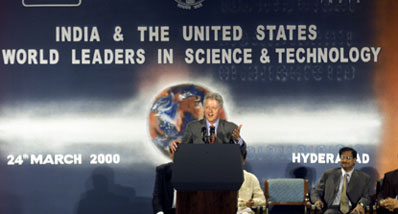 President Clinton adresses a hi-tech event at the Hi-Tech Center, Hyderabad, India.