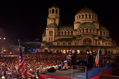 Tens of thousands of cheering people gathered in front of Alexander Nevski Cathedral in Sofia to hear President Clinton speak to the people of Bulgaria.
