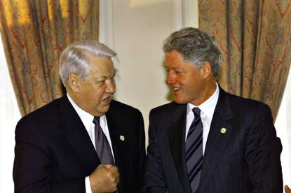 President Clinton and Russian President Boris Yeltsin after a private meeting at the Ciragan Palace in Istanbul.