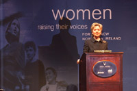 First Lady Hillary Rodham Clinton addresses the audience at a Vital Voices event at the Belfast Opera House in Belfast, Northern Ireland