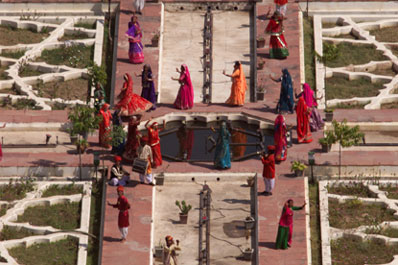 Costumed dancers perform in the courtyard at the Amber Fort.