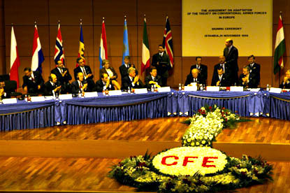 President Clinton joined world leaders at the OSCE Summit in Istanbul for the signing of the CFE treaty.