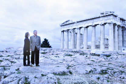 President Clinton and daughter Chelsea visit the Parthenon.