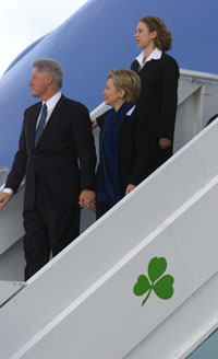 President Clinton, First Lady Hillary Rodham Clinton, and Chelsea Clinton arrive in Dublin, Ireland,  on Tuesday, December 12