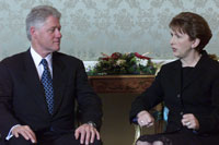 President Clinton meets with Irish President Mary McAleese at the President's House in Dublin, Ireland