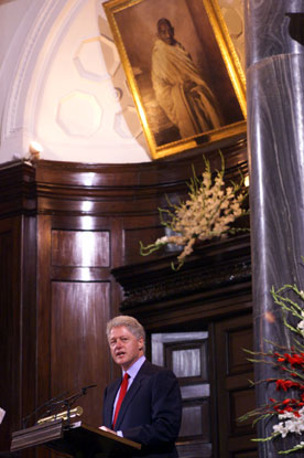 President Clinton addresses members of the two houses of Parliament, Parliament Building, New Delhi.
