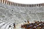 Mrs. Clinton visits Aspendos, known for its well-preserved theater, which seats 15,000 and is still in use today.