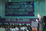 The President speaks to the Englewood community; Photo by Ralph Alswnag, November 5, 1999.