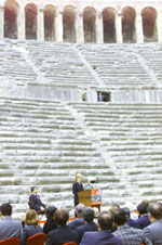 With the ancient Aspendos amphitheater as a backdrop, the First Lady speaks about the importance of cultural preservation.