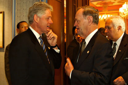Canada's Prime Minister Jean Chretien holds a discussion with the President at the OSCE Summit.