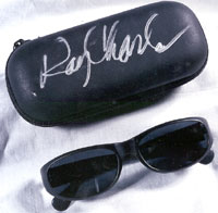 Ray Charles Dark Glasses and Autographed Case