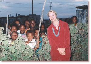 ONAP Director Sandra Thurman with group of children (11/17/98)