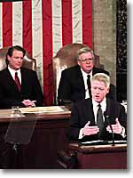 Photo of President Clinton Delivering 1999 State of the Union Address