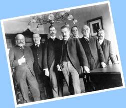 Colonel William Henry Crook (far left), who served as President Lincoln's bodyguard and the first Executive Clerk, poses with staff from the McKinley Administration.