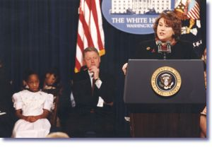 Amy Slemmer from Mother's Voices Against AIDS speaking at White House World AIDS Day Commemoration (12/1/98)
